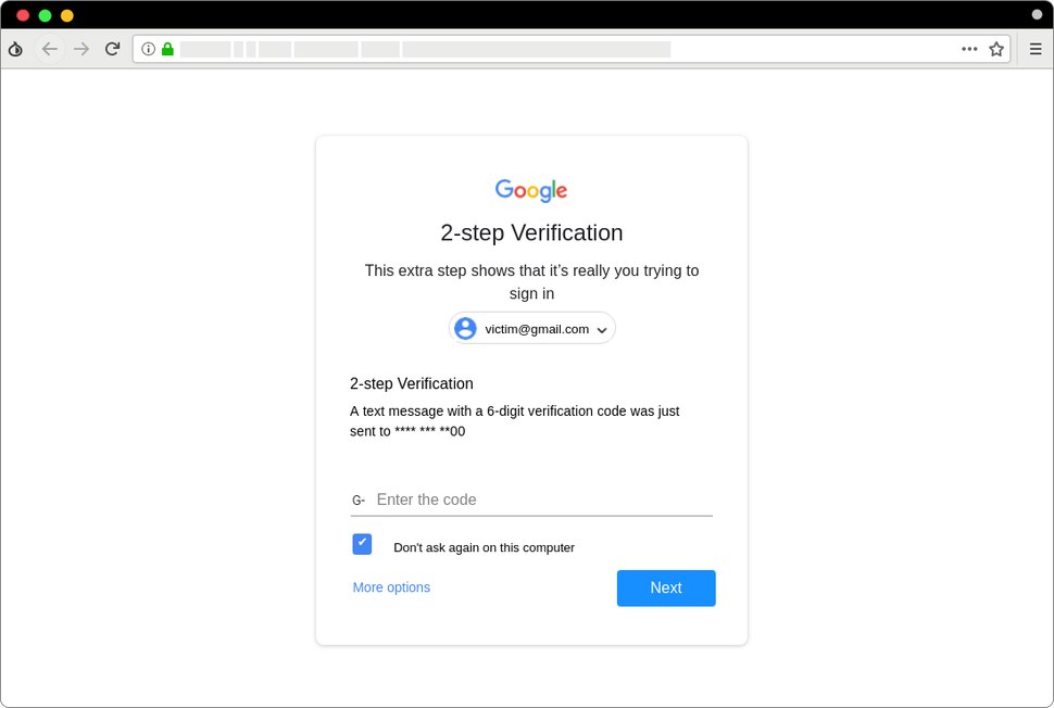 A screenshot of a phishing website that mimics the look of a Google login page.