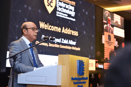 Securities Commission Malaysia Chairman Datuk Syed Zaid Albar delivering opening speech at SCxSC Fintech Conference 2018