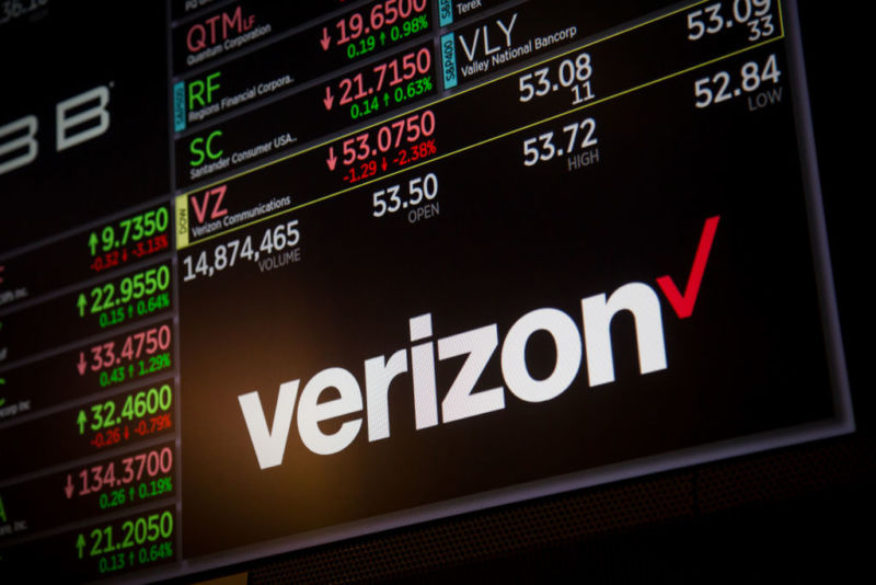 A Verizon logo displayed along with stock prices at the New York Stock Exchange.