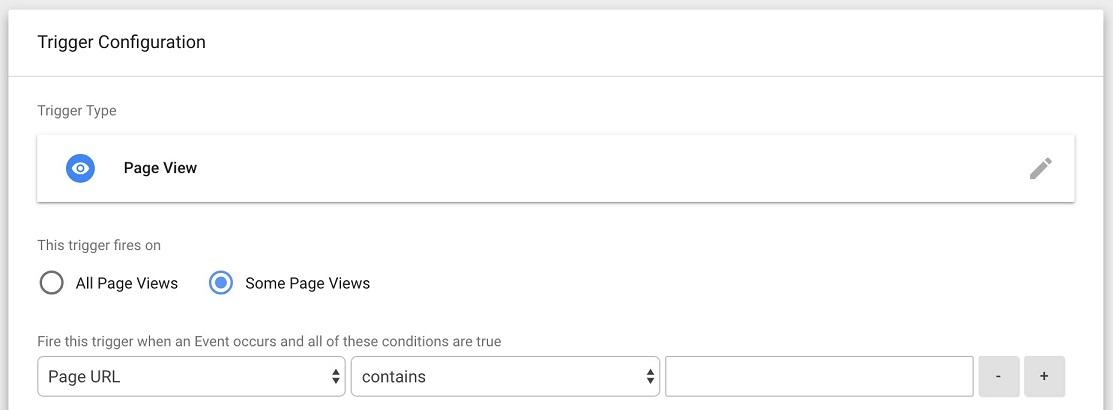 choose specific pages for trigger configuation