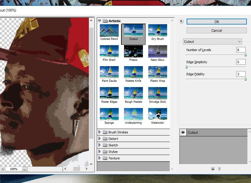 Filter Artistic Cutout Photoshop Filter