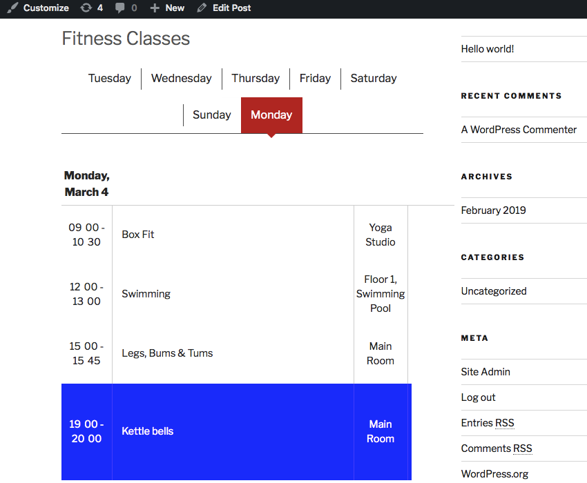 A simple schedule using the Weekly Tabs style