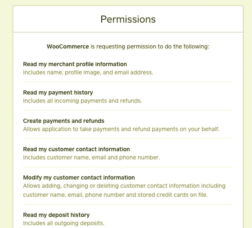 woocommerce permissions for square