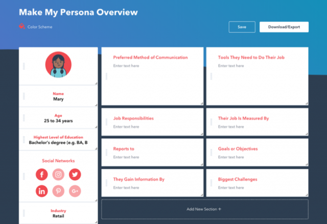 Template for buyer persona