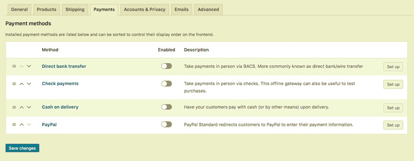 WooCommerce payments screen