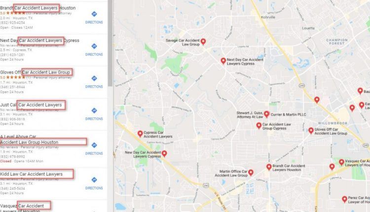The majority of listings for car accident attorneys on Google are fake