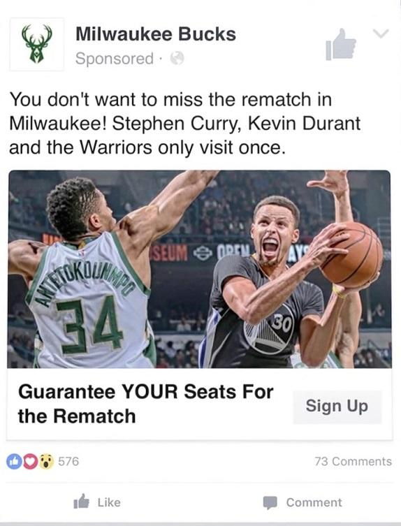 facebook lead ad that shows an intense moment in basketball and invitation to buy tickets