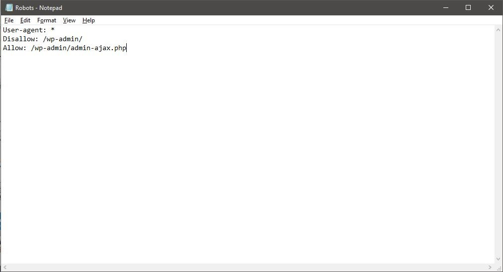 Robots txt file Notepad