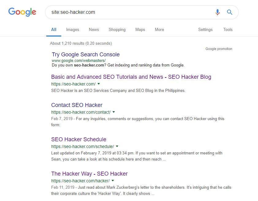 Google Search Site Command