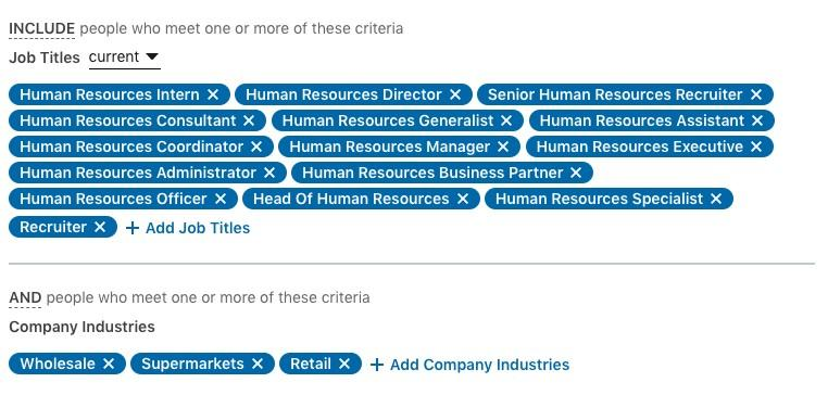 LinkedIn targeting options