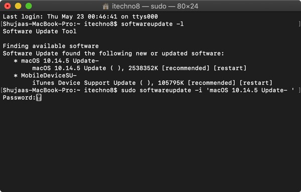 Update Mac Using Terminal Sudo Install