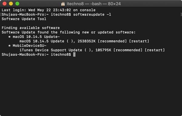 Update Mac Using Terminal List Updates