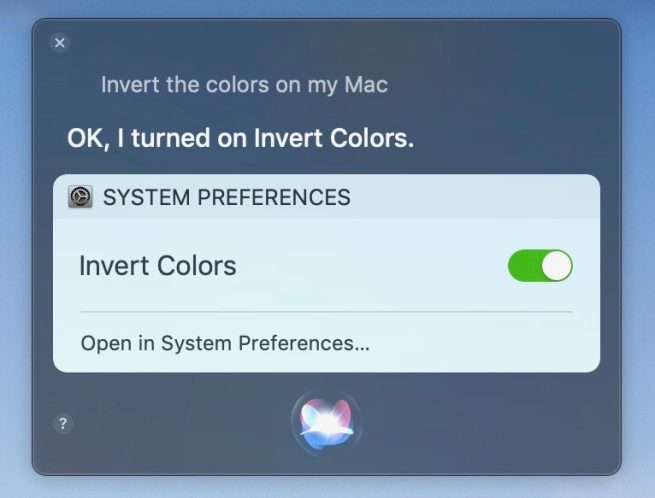 invert display color with Siri on Mac