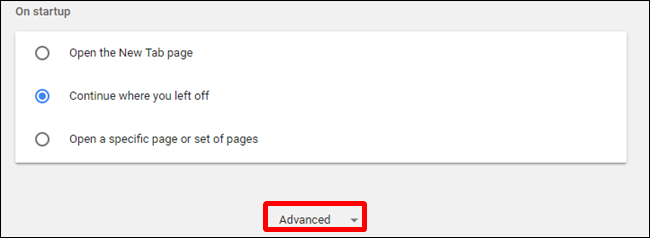 Under Settings, click Advanced at the bottom of the page.