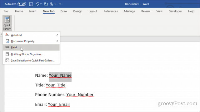 using custom fields in word