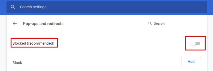 Enable Google Chrome Pop-Up Blocker