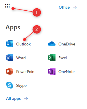 The O365 app launcher with Outlook highlighted.