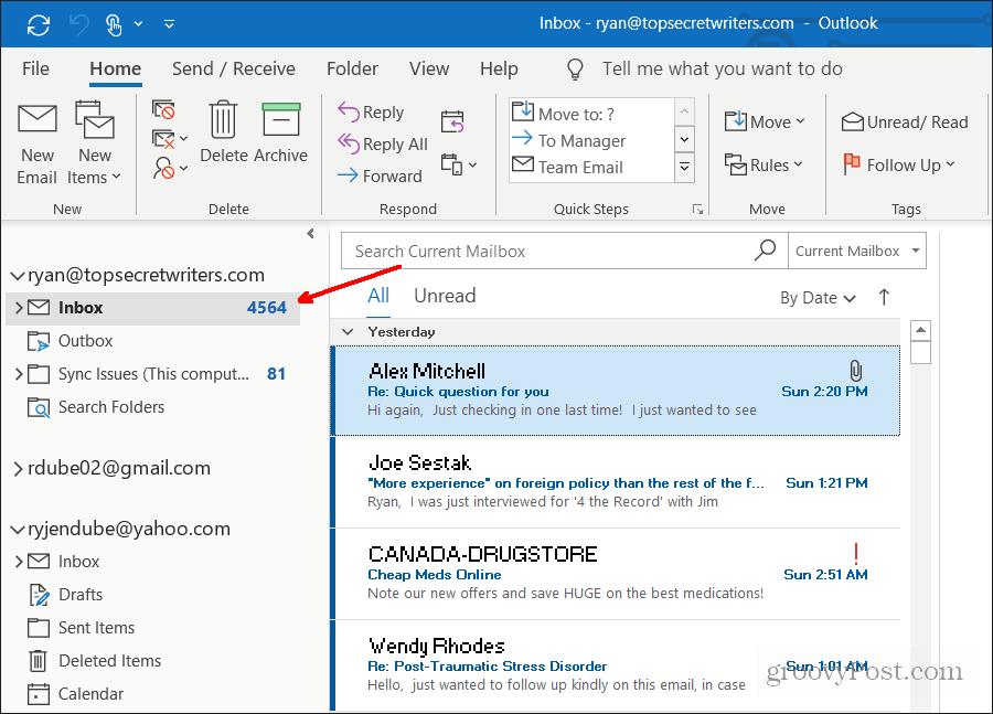 default inbox opening