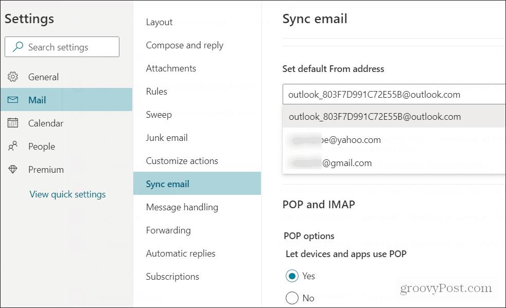 set default send email