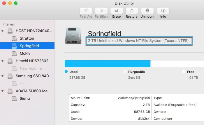 Disk Mounting Problem Macos Disk Utility Formatting
