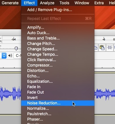 Audacity Noise Reduction Effect Menu Selection