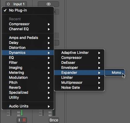 Logic Pro X Noise Removal Expander Effect