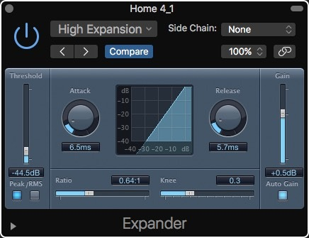 Logic Pro X Noise Removal Expander High Expansion