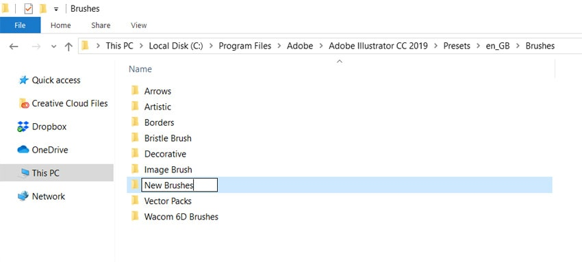 save your brushes in a folder for easy retrieval