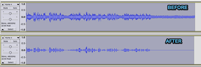 Audacity Noise Removal Effect Before And After Waveform