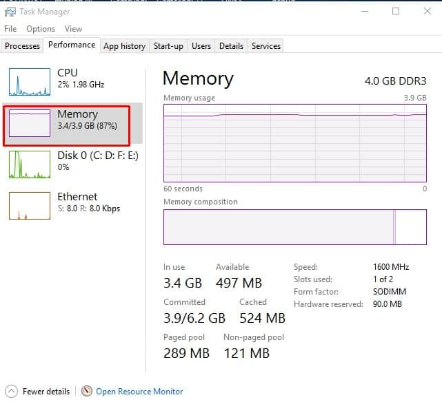 Check Used & Empty RAM Slots on Windows 10