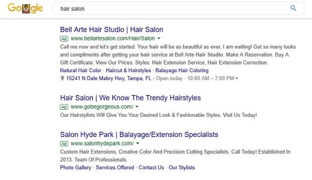Local SEO Google Hair Salon Sponsored Results
