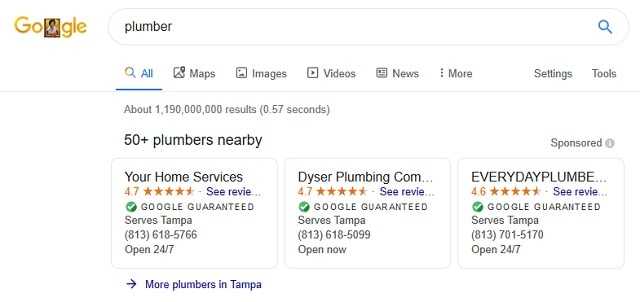 Local SEO Plumber Search Results