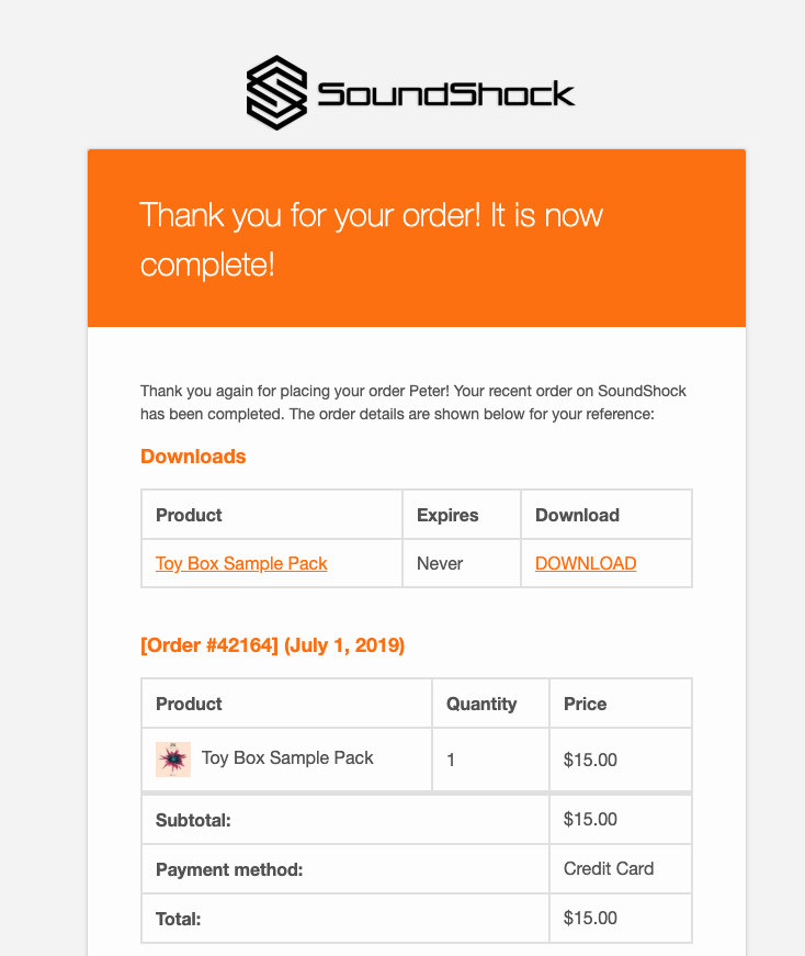 Completed Order Transactional Email