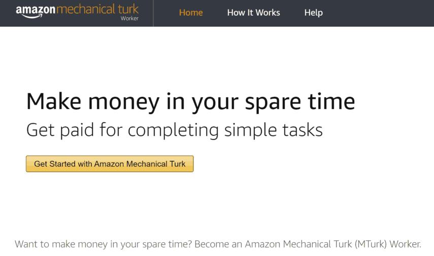 amazon mechanical turk (mturk) homepage