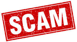 scam in red letters