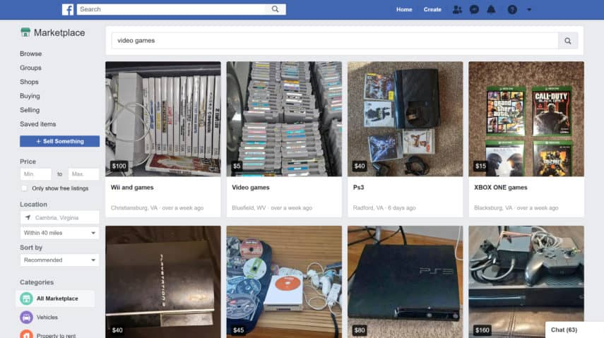 facebook marketplace is a great place to sell video games and game consoles for cash at locations near you