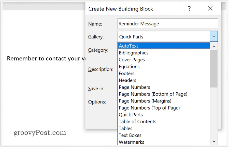 assign auto text