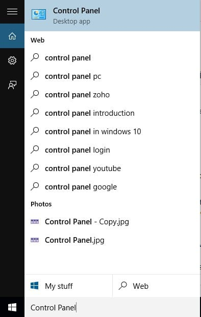 Open Control Panel From Cortana