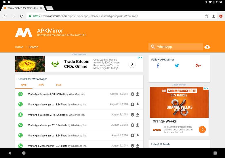 use whatsapp on tablet apkmirror