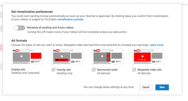 monetization preferences