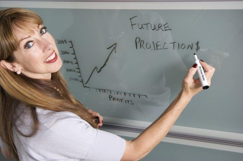 teacher writing on dry erase board with marker