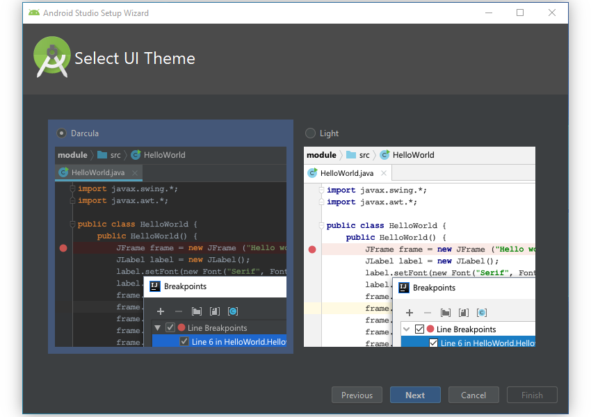 UI theme selection screen