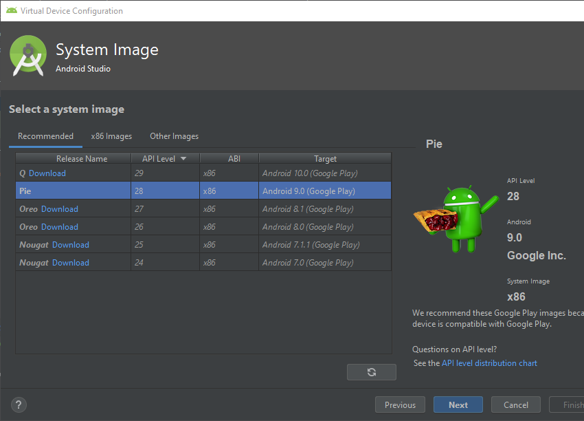 System image selection screen