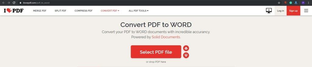 ILovePDF- Transform PDF to Word Online