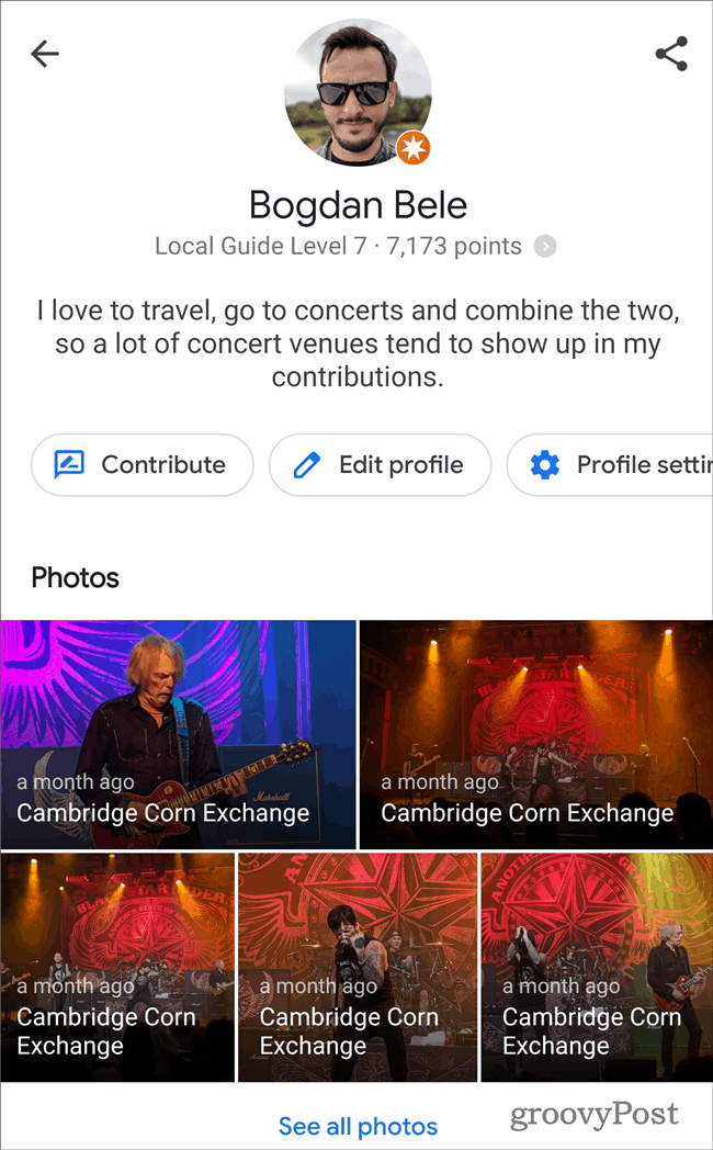 Google Maps Profile bio
