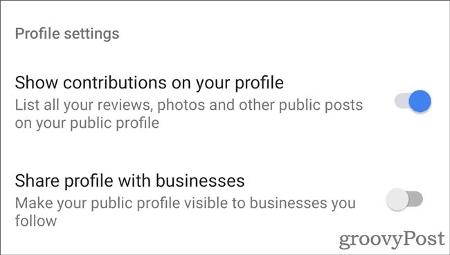 Google Maps Profile options
