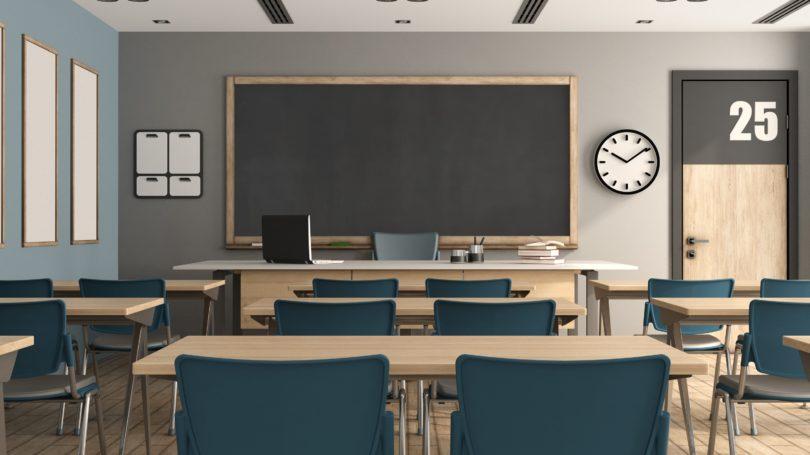 Classroom Empty Chalkboard Desks Chairs
