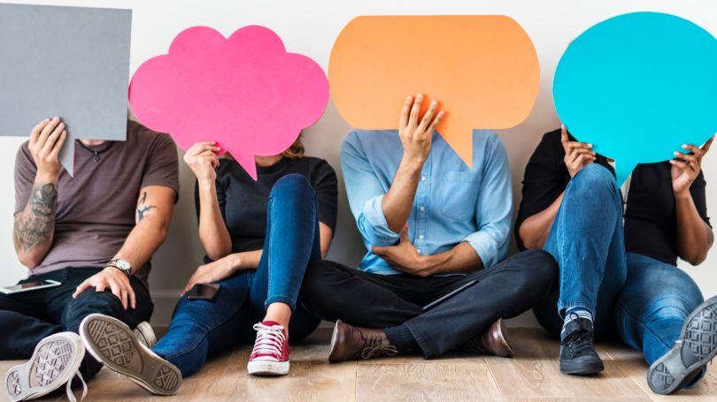 People Conversation Bubble Dialogue Colorful Group Chat