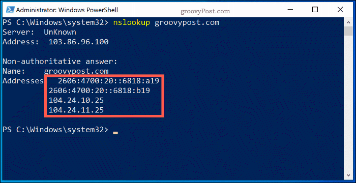 The NSlookup command in a Windows 10 PowerShell Window, showing the name server lookup information for Groovypost.com