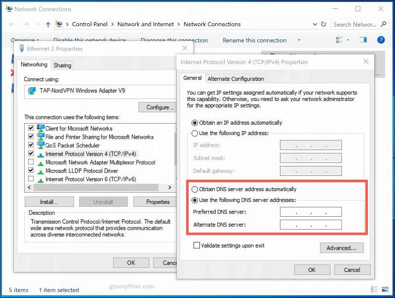 The DNS settings window for a network connection in Windows 10